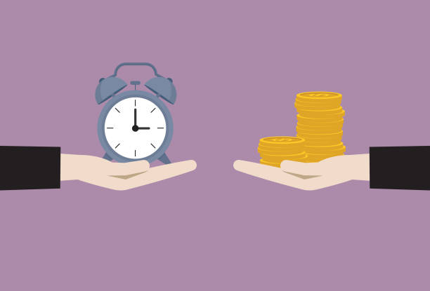 Businessman exchange between clock and money Giving, Currency, Time, Customer, Wages, Exchanging time is money stock illustrations