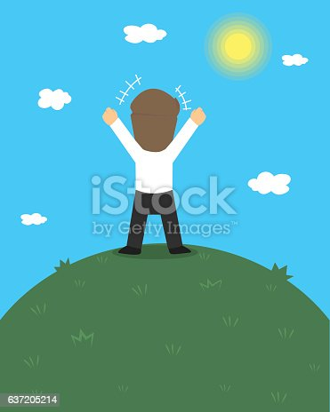 Businessman  Excited Hold Hands Up Raised Arms, Businessman Concept Winner Success. vector