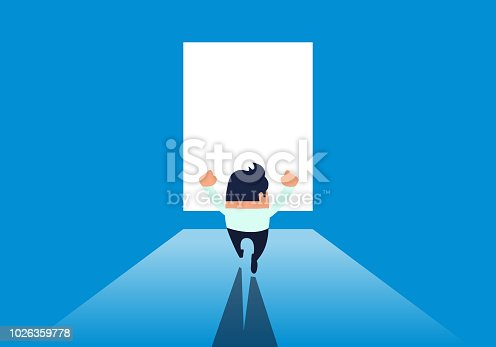 Businessman excited to find the exit