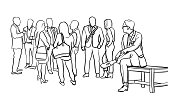 Vector illustration of a business man sitting on a bench and watching a group of business people interacting
