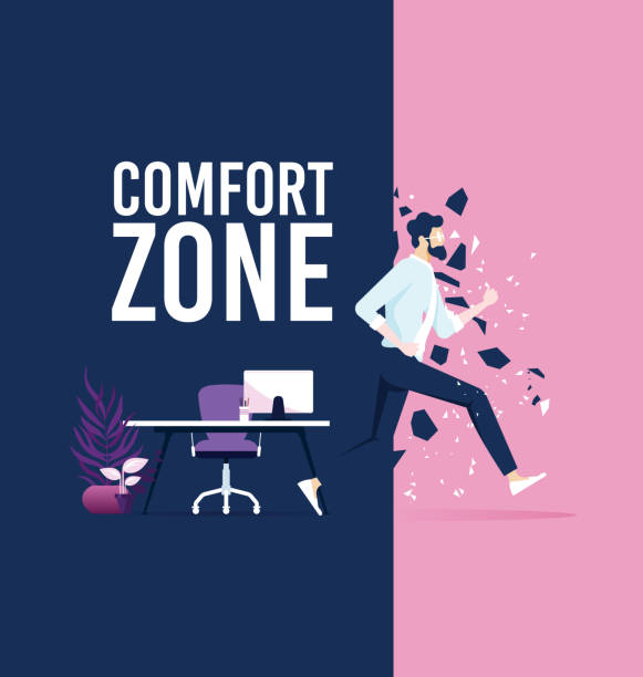 Businessman exit from comfort zone Businessman exit from comfort zone comfort stock illustrations