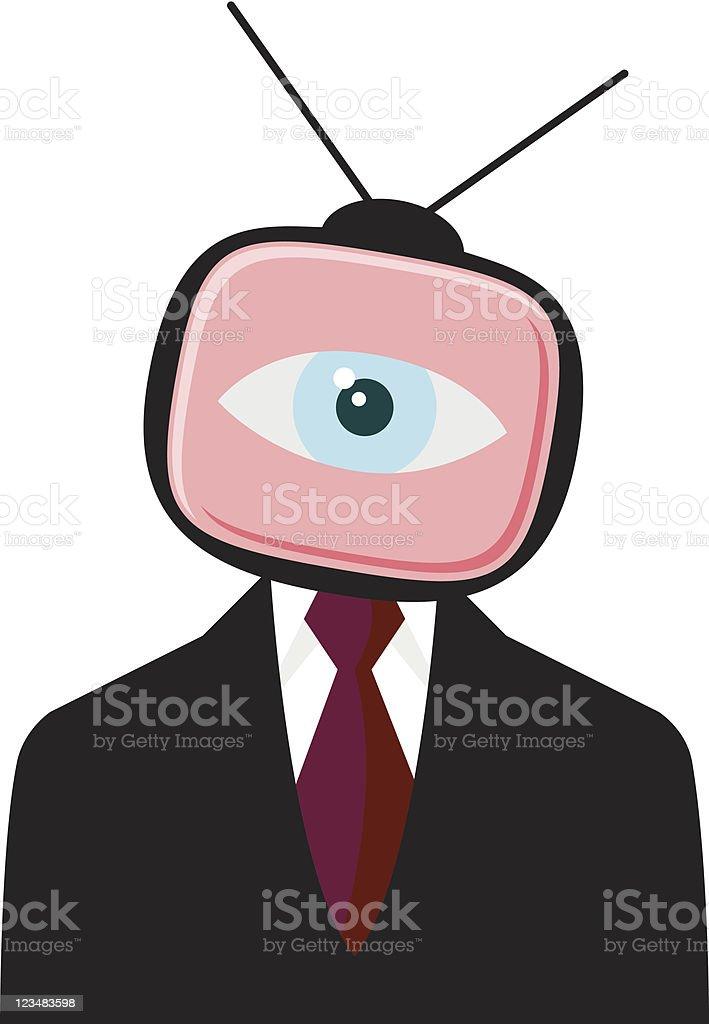 Businessman Eye From TV Set vector art illustration