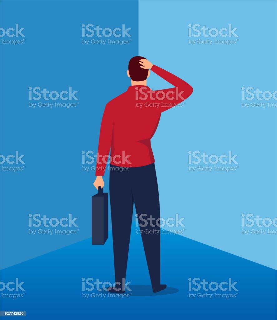 Businessman facing the wall vector art illustration