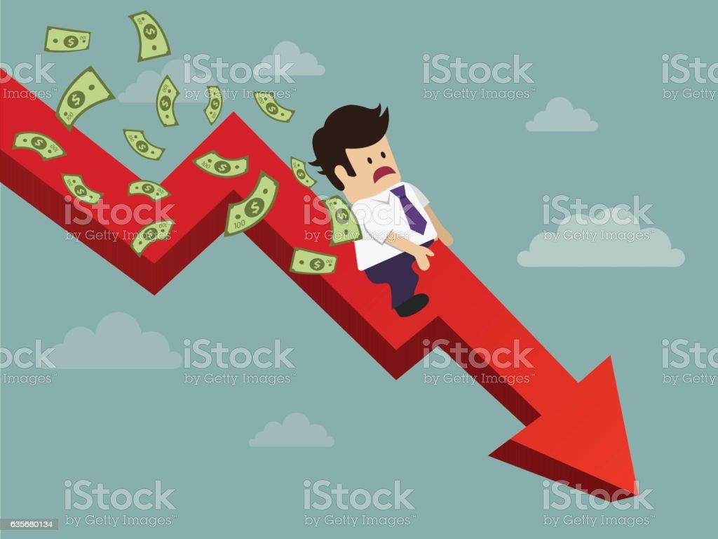 Businessman fail and money flying vector art illustration