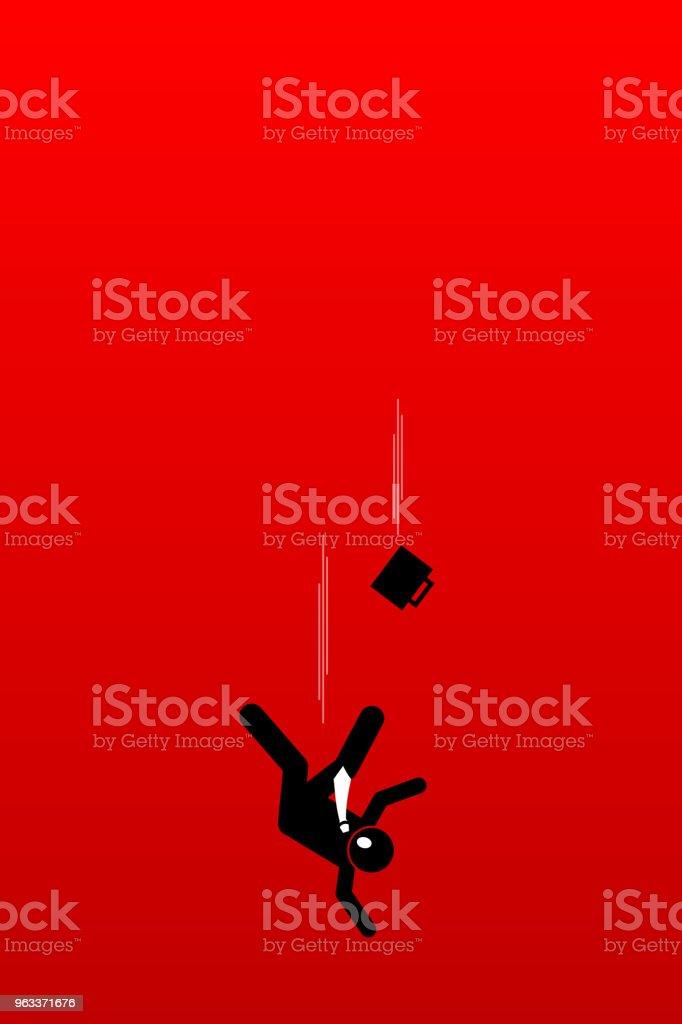 Businessman fall into abysmal. vector art illustration