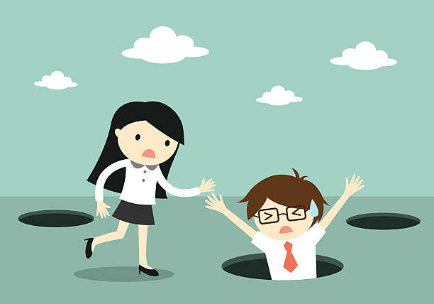 Royalty Free Cartoon Business Woman Falling In Hole Clip ...