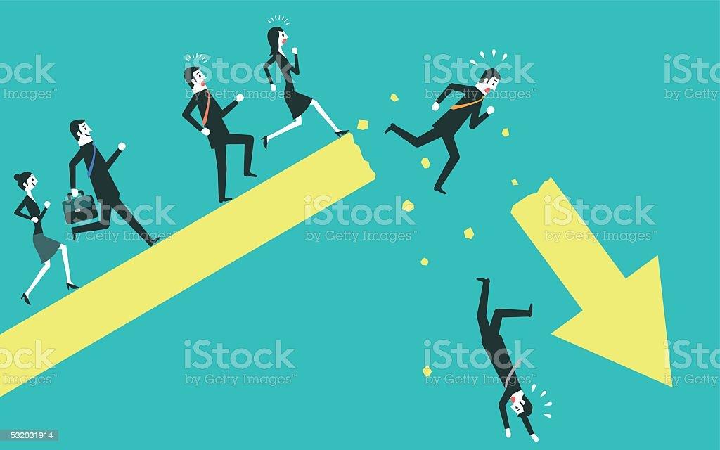 Businessman falling from a broken arrow vector art illustration
