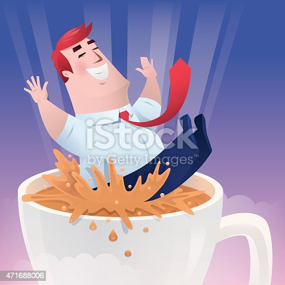 businessman falling in cup of coffee