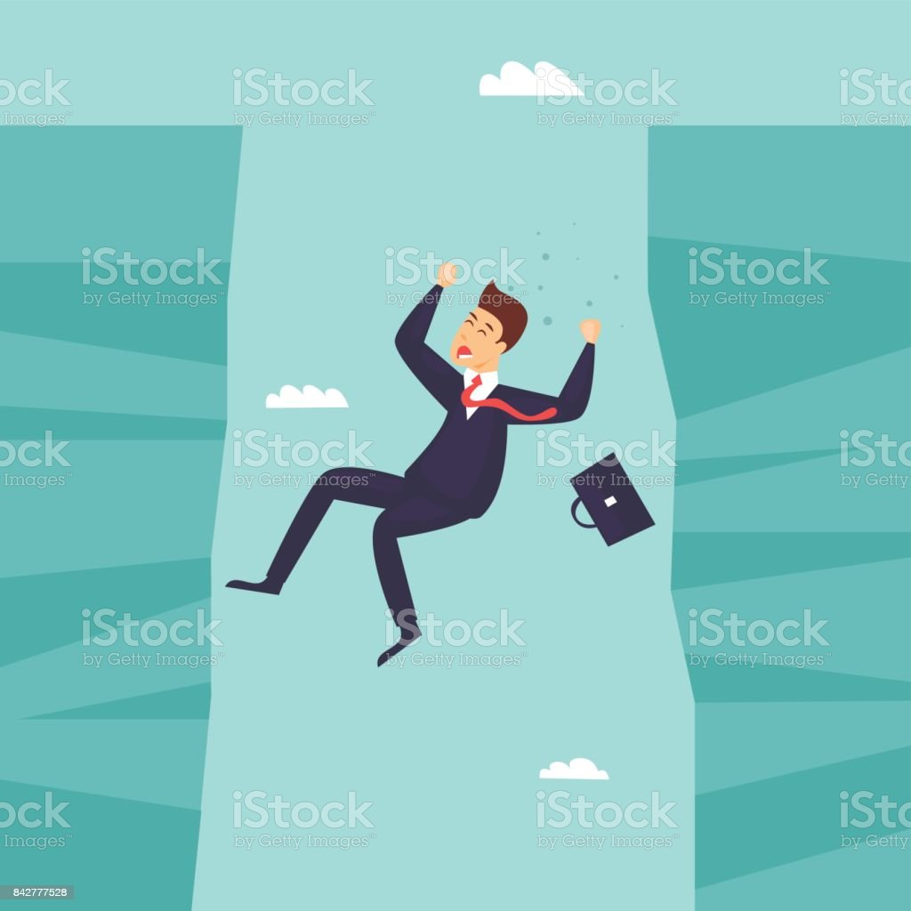 Businessman falls into the abyss, crisis, bankruptcy. Flat design vector illustration. vector art illustration