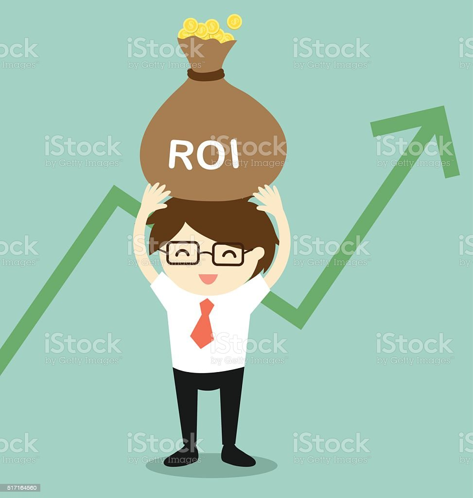 Businessman feeling happy about his return of investment. vector art illustration