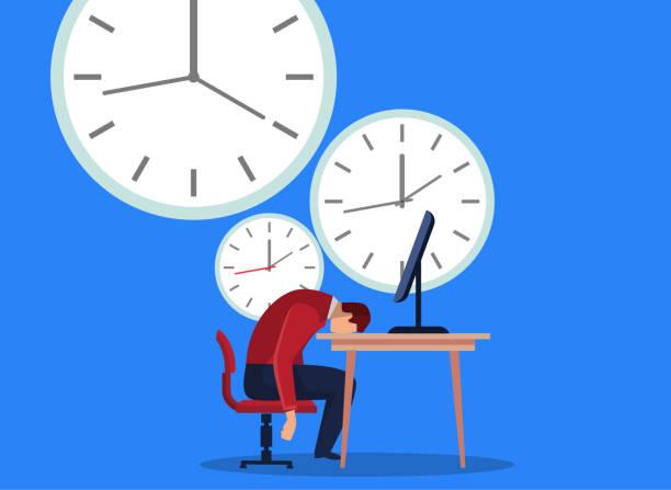 ilustraciones, imágenes clip art, dibujos animados e iconos de stock de empresario se quedó dormido al lado del reloj - trabajar hasta tarde