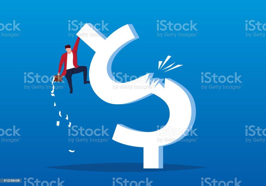 Businessman fell from a sudden broken dollar vector art illustration