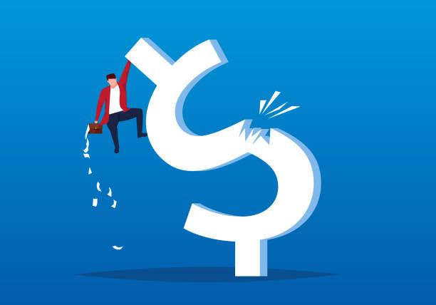 ilustraciones, imágenes clip art, dibujos animados e iconos de stock de hombre de negocios cayó de un repentino dólar roto - bancarrota