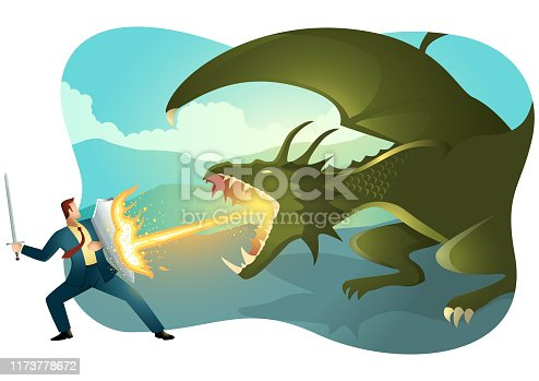 Vector illustration of a businessman fighting a dragon. Risk, courage, leadership in business concept.