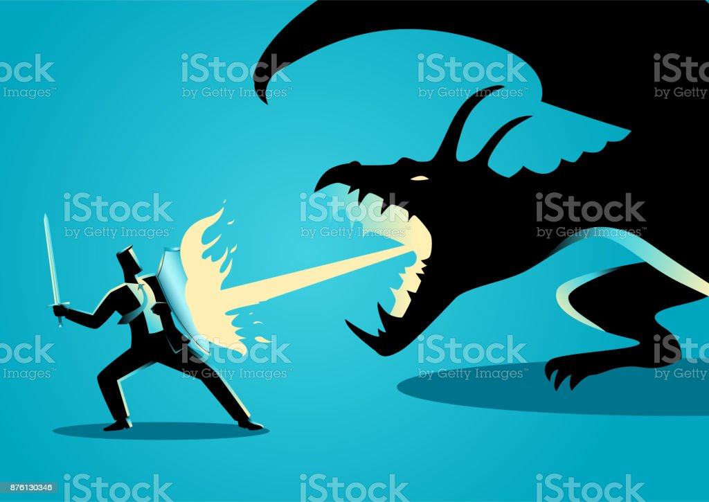 Businessman fighting a dragon vector art illustration