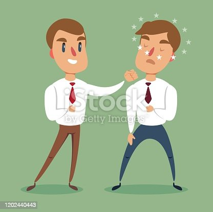 Businessman fighting against another businessman. Business competition concept. Stock flat vector illustration.