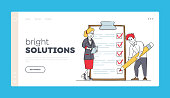 Businessman Filling Checklist Landing Page Template. Character Put Marks into Check Boxes on Huge Clipboard, Businesswoman Searching Solution and Thinking New Idea. Linear People Vector Illustration