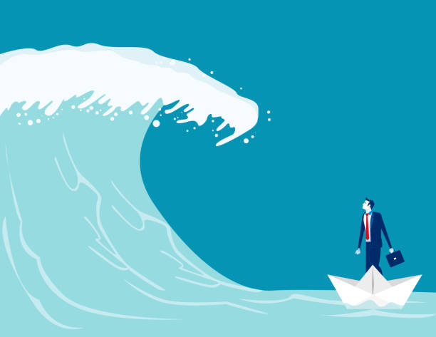 Businessman find barriers to success. Concept business vector illustration, Paper boat, Tsunami Wave, Challenge. Businessman find barriers to success. Concept business vector illustration, Paper boat, Tsunami Wave, Challenge. tsunami stock illustrations