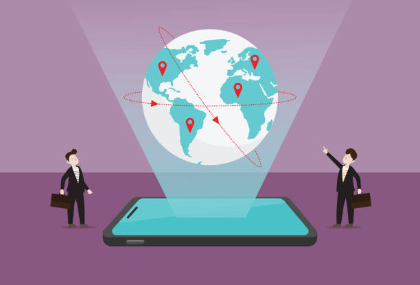 biznesmen odnajduje globalne możliwości biznesowe dzięki technologii - globalny stock illustrations