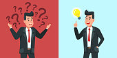 Businessman find idea. Confused business worker wonders and finds solution or solved problem. Solution emerging, person finding innovation ideas or worried forgetful man cartoon vector illustration