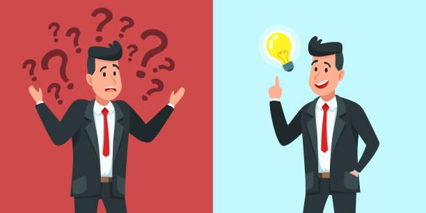 ilustrações, clipart, desenhos animados e ícones de o homem de negócios encontra a idéia. o trabalhador de negócio confuso questiona e encontra a solução ou problema resolvido ilustração vetorial - só um homem jovem