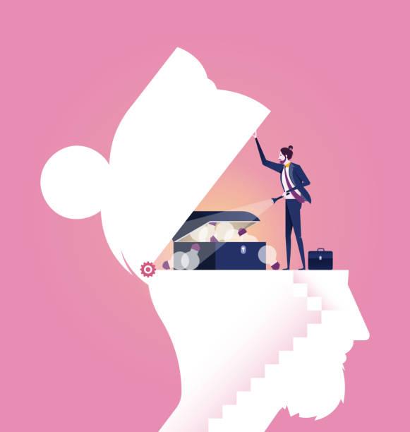 geschäftsmann, die suche nach einer idee schatz in einem kopf-business-konzept-vektor - neues zuhause stock-grafiken, -clipart, -cartoons und -symbole