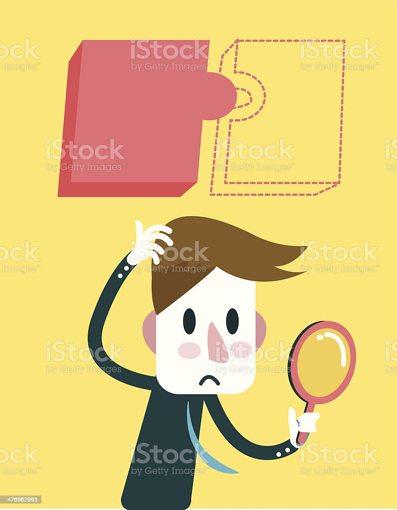 Businessman finding for hidden jigsaw puzzle. royalty-free stock vector art