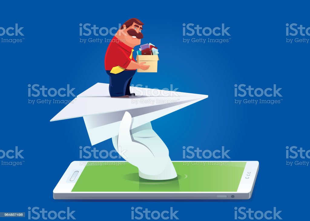 businessman finding new job via smartphone royalty-free businessman finding new job via smartphone stock vector art & more images of a helping hand