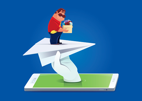 businessman finding new job via smartphone