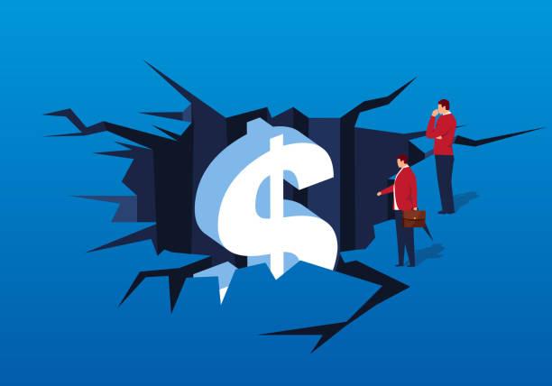 stockillustraties, clipart, cartoons en iconen met zakenman vondsten dollar in spleet - faillissement