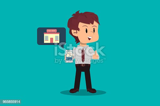 istock Businessman finds opportunity to invest in real estate from an application on his smartphone. Entrepreneurship concept. 955855914