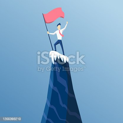 Businessman first reached the summit of the mountain with a flag. Business people reached his goal. Business concept win and competition. Leads to success.