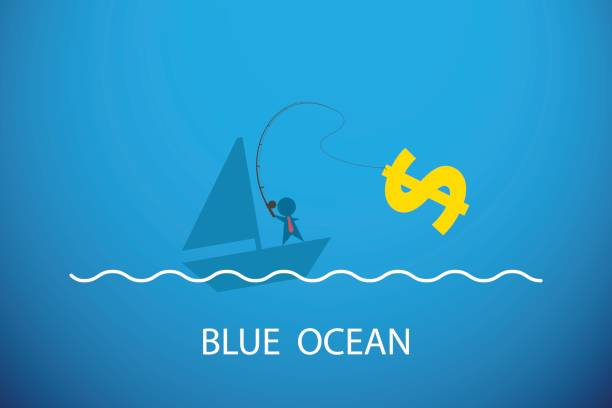 Businessman fishing dollar symbol in blue ocean, business concept. vector art illustration