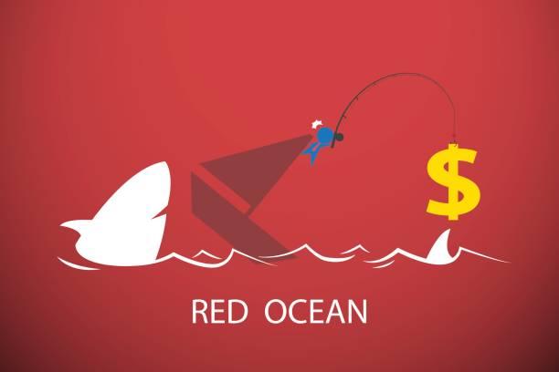 Businessman fishing dollar symbol in red ocean, business concept vector art illustration