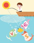 businessman fishing' vector illustration