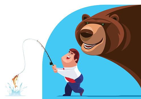 businessman fishing with big bear