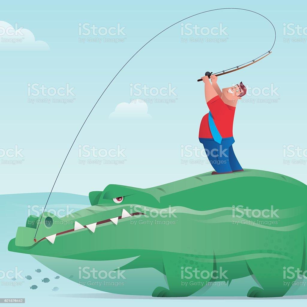 businessman fishing with crocodile businessman fishing with crocodile – cliparts vectoriels et plus d'images de adulte libre de droits