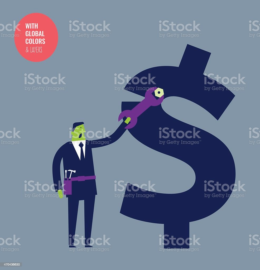 Businessman fixing a dollar sign with a hex wrench vector art illustration