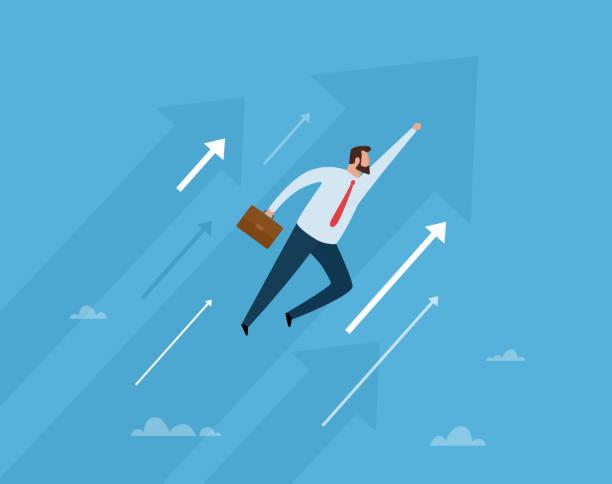 ilustrações, clipart, desenhos animados e ícones de vôo do homem de negócios ao futuro. ilustração do vetor do conceito do negócio. - ceo