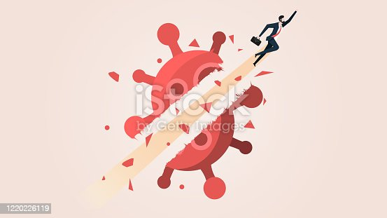 Businessman Fly Breakthrough Coronavirus Crisis. Business People Move on in the Coronavirus 2019 or Covid-19 Crisis Effect Concept. Conceptual Vector Illustration.
