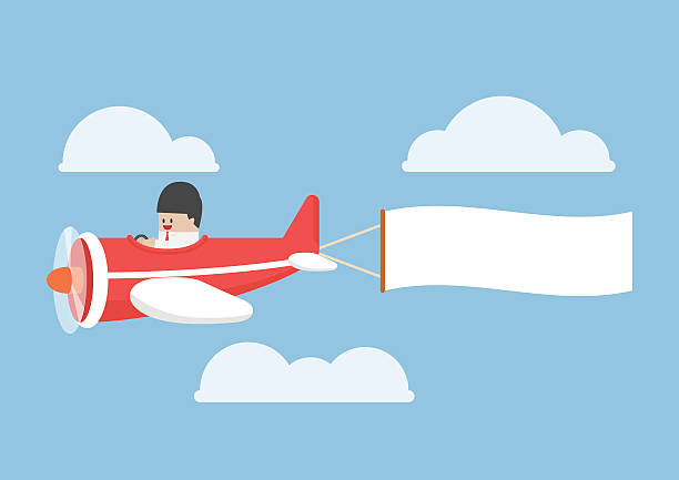 Businessman flying by the airplane with banner vector art illustration