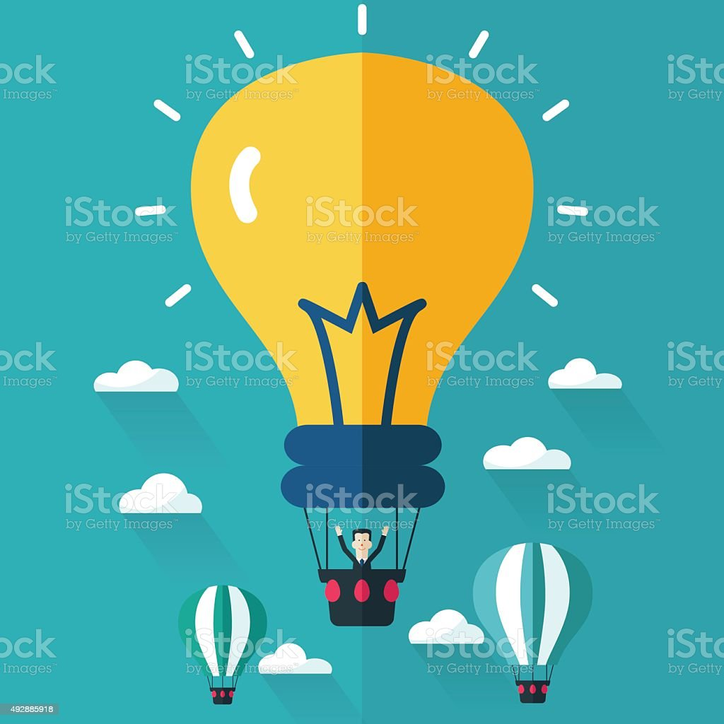 Businessman flying in a hot air balloon. Idea concept design vector art illustration