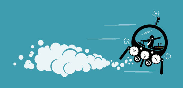 Businessman flying in a time machine going to the future or past. vector art illustration
