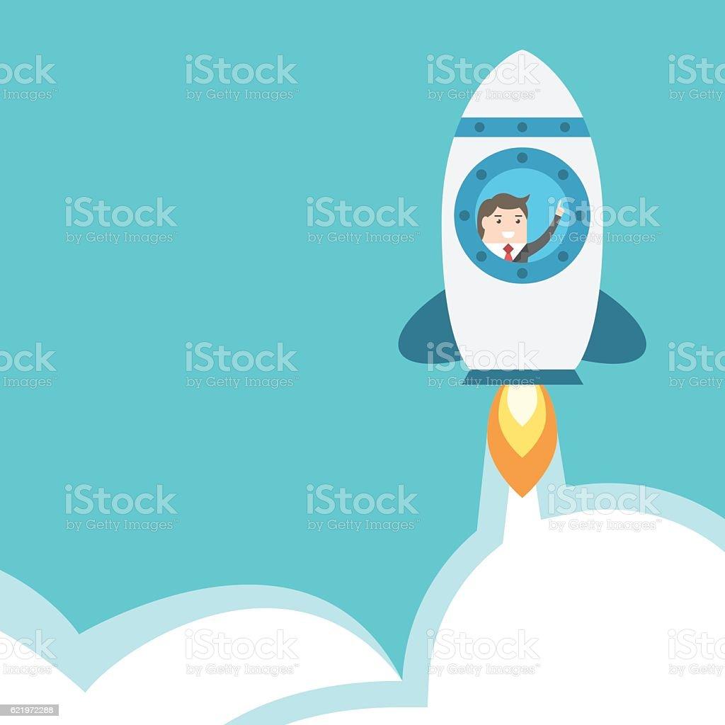 Businessman flying in rocket vector art illustration