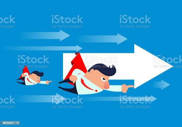 Geschäftsmann Fliegen In Der Luft Mit Pfeilen Stock Vektor Art und mehr Bilder von Abheben - Aktivität