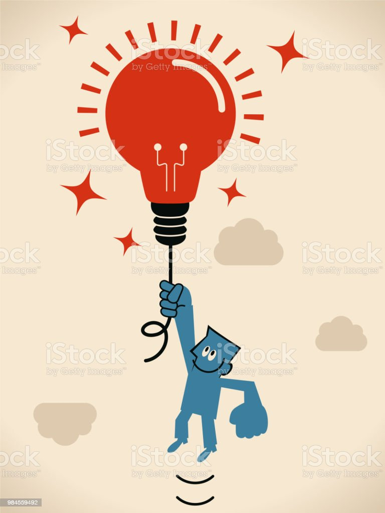 Businessman flying in the sky (floating in the air) with a idea light bulb balloon vector art illustration