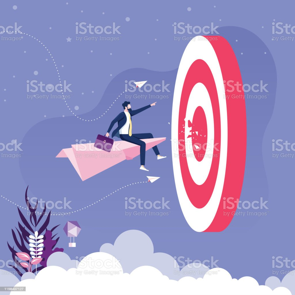 Businessman flying on paper plane go to target. Business concept...