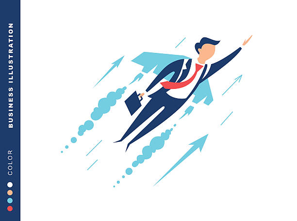 Businessman flying on wings of the sky to success vector art illustration