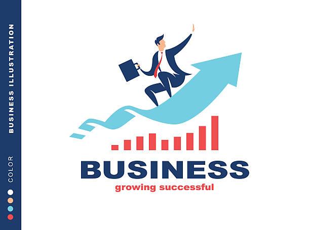 Businessman flying to success, illustration vector art illustration