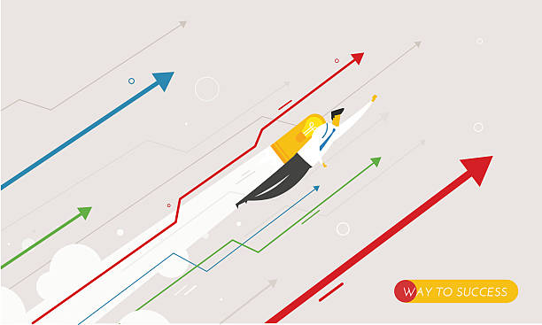 Businessman flying with jetpacks looking to the future. vector art illustration